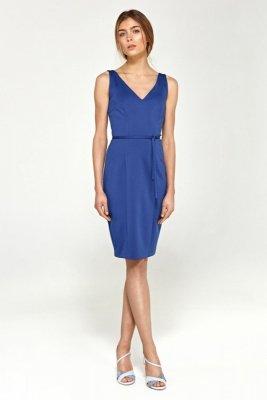 Zmysłowa sukienka z dekoltem na plecach - niebieski - S94