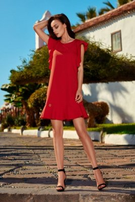 Wizytowa sukienka z falbankami L248 czerwony