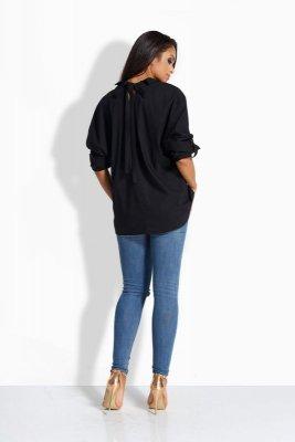 EM502 Luźna casualowa koszula z kokardką z tyłu czarny