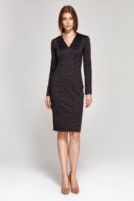 Sukienka z dekoltem w literę V - wzór/bordo - CS12