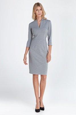 Sukienka z dekoltem w serek - szary - CS01
