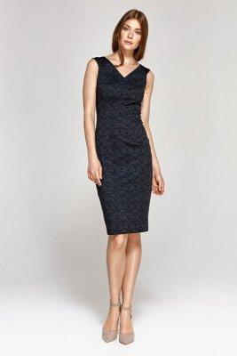 Sukienka z dekoltem w serek - wzór/granat - CS08