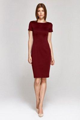 Sukienka z krótkim rękawem - bordo - CS11