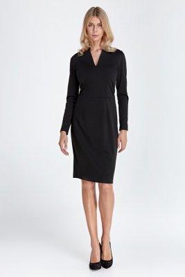 Sukienka z subtelnym dekoltem - czarny - CS05