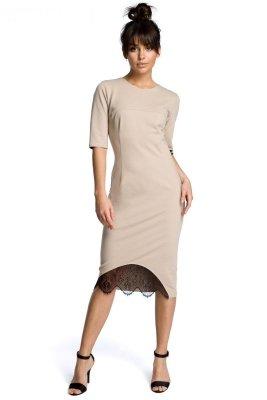 B078 Sukienka z koronką beżowa