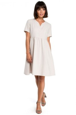 B081 Sukienka mini beżowa