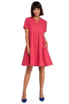 B081 Sukienka mini różowa