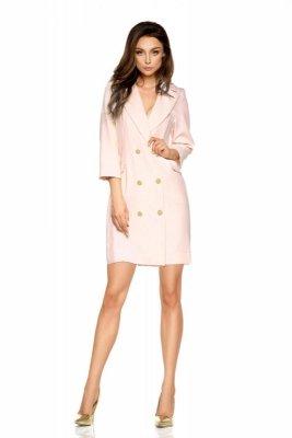 Garniturowa sukienka mini L278 pudrowy róż