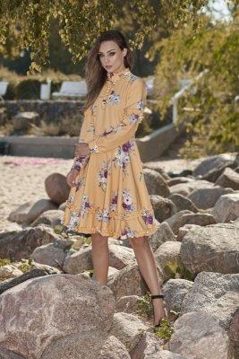 Wyjątkowa sukienka z efektownym wykończeniem L269 żółty w kwiatki