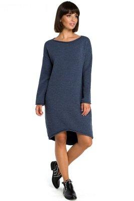 BK006 Sukienka swetrowa - niebieski