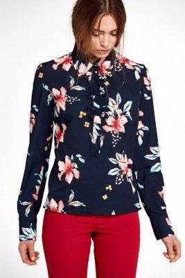 Bluzka z kokardkami - kwiaty/granat - B96