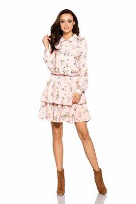 Klasyczna koszulowa sukienka L281 pudrowy róż w kwiatki