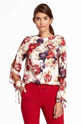 Bluzka z wycięciami na rękawach - kwiaty - B95