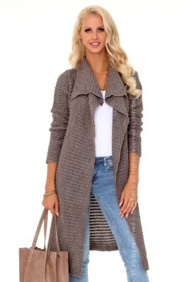 Mayamino Mocca sweter-płaszczyk