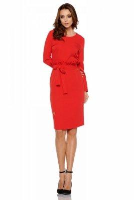 Biznesowa sukienka z paskiem L289 czerwony