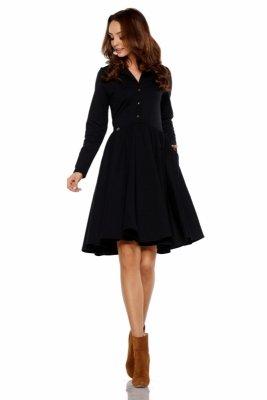 Sukienka z koła z dekoltem V L282 czarny