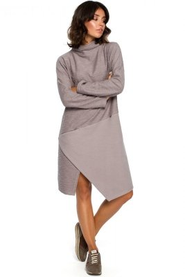 B098 Sukienka z asymetrycznym przeszyciem z przodu - szara