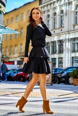 Casualowa sukienka z podwójną falbanką  L283 czarny
