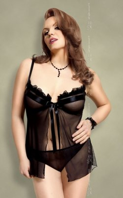 Nadine - Plus Size - black 1705 koszulka i stringi