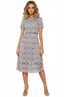 M405 Koronkowa sukienka midi - szara