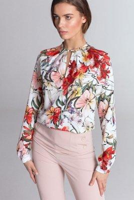 Bluzka z pęknięciem na dekolcie - kwiaty/ecru - B100