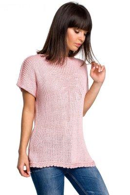 BK020 Bluzka sweterkowa z palmą - różowa