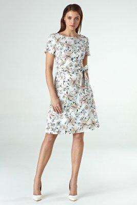 Sukienka cs30 - kwiaty/ecru - CS30