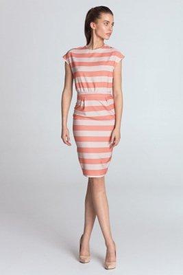 Sukienka ołówkowa - pomarańcz/paski - S120
