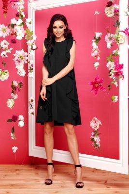 Sukienka bez rękawów z falbanami L298 czarny