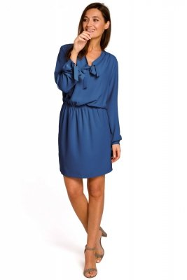 S147 Sukienka z wiązanie w dekolcie i rękawach - niebieska