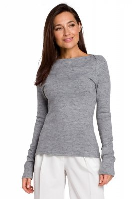 S148 Sweter dopasowany - szary