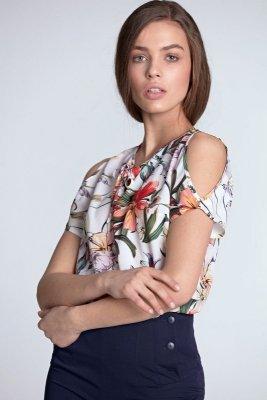 Bluzka z wycięciami na ramionach - kwiaty/ecru - B99