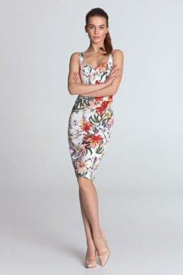 Sukienka z dekoltem w kształcie serca - kwiaty/ecru - S118