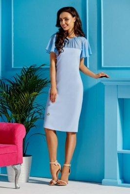 Elegancka sukienka z szyfonowymi rękawami i dekoltem L299 błękitny