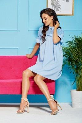 Oversizowa elegancka sukienka z kołnierzykiem L307 błękitny