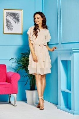 Sukienka z szyfonem i falbankami L303 beżowy