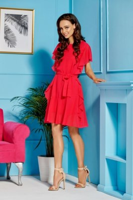 Sukienka z szyfonem i falbankami L303 malina