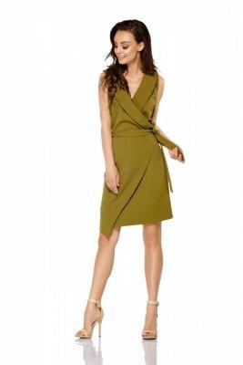 Sukienka kopertowa wiązana w pasie bez rękawów L308 khaki