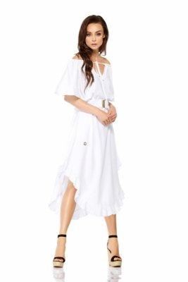 Sukienka z falbanką na dole i koronkowym paskiem LG501 biały