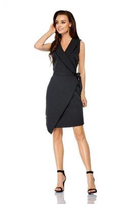 1 Sukienka kopertowa wiązana w pasie bez rękawów L308 czarny PROMO