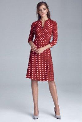 Sukienka zapinana na napy - bordo/grochy - S129