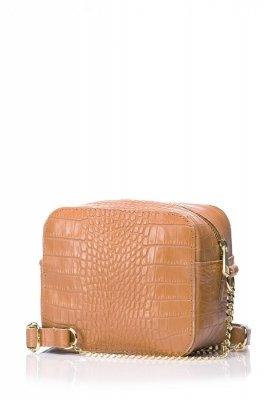 SB500 Torebka prostokąt ze złotym łańcuszkiem - ruda