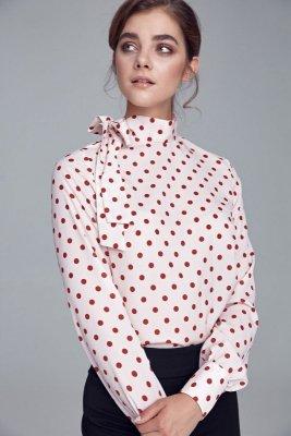 Bluzka z wiązaniem na boku - krem/grochy - B103