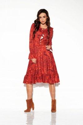 Sukienka ze sznurowanym dekoltem wzory LG505 druk 1