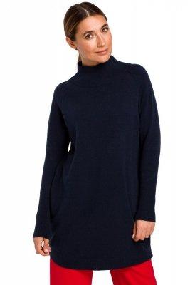 S184 Sweter tunika - granatowy