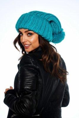 Oversizowa czapka z pomponem na zimę LC121 turkus