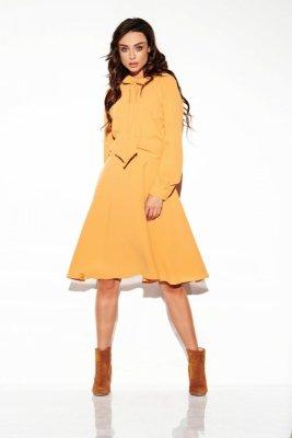 Sukienka wiązana przy szyi kolor L310 kamel