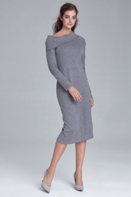 Sukienka dzianinowa z golfem - szary - S126