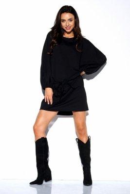 Dresowa sukienka z szerokimi rękawami LN113 czarny