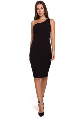 K003 Sukienka na jedno ramię - czarna